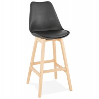 High black bar stool in Scandinavian style with padded black imitation leather seat and solid wooden foot