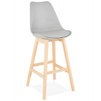 High grey bar stool in Scandinavian style with padded grey imitation leather seat and solid wooden foot