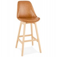 Brown bar stool in a refined design with soft padding and solid wooden foot