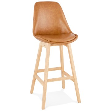 Upholstered and refined BROWN bar stool JANIE