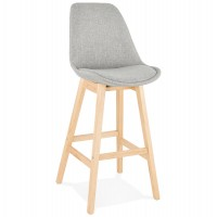 Scandinavian gray bar stool, with upholstered fabric seat and solid wood legs
