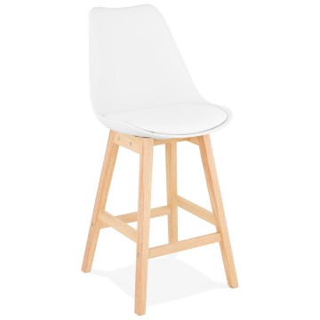 WHITE bar stool with Scandinavian style APRIL MINI