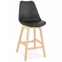 Mid-height black bar stool in Scandinavian style with padded black imitation leather seat and solid wooden foot
