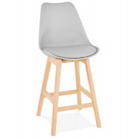 Mid-height grey bar stool in Scandinavian style with padded grey imitation leather seat and solid wooden foot