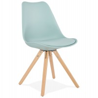Simple and robust chair with blue imitation leather seat and beech wood legs