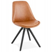 Industrial style chair with comfortable seat in brown imitation leather and black wooden legs