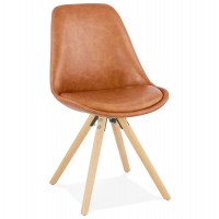 Industrial style chair with comfortable seat in brown imitation leather and natural wooden legs