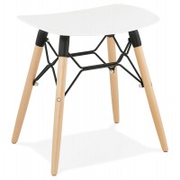 Scandinavian white stool with curved ABS seat and resistant wooden base