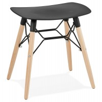 Scandinavian black stool with curved ABS seat and resistant wooden base