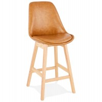 Brown mid-height bar stool in a refined design with soft padding and solid wooden foot
