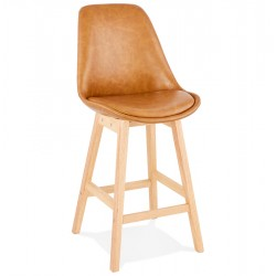 Upholstered and refined BROWN mid-height bar stool JANIE MINI