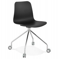 Black rolling chair with solid and design seat and chromed metal leg. Ideal for the office