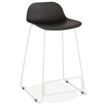 Tabouret de bar NOIR base BLANCHE stable, confortable et design SLADE MINI