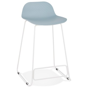 Tabouret de bar BLEU base BLANCHE stable, confortable et design SLADE MINI