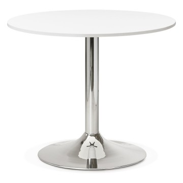 Design WHITE round table 90x90 cm plate with chromed base RADON