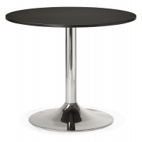 Black dining room or office table in round shape (90x90 cm plate), with solid chromed metal leg