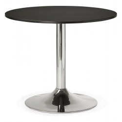 Design BLACK round table 90x90 cm plate with chromed base RADON