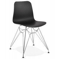 Designer black chair with solid patterned seat and chrome metal legs