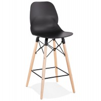 Scandinavian style black bar stool with natural wood legs and metal footrest