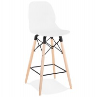 Scandinavian style white bar stool with natural wood legs and metal footrest