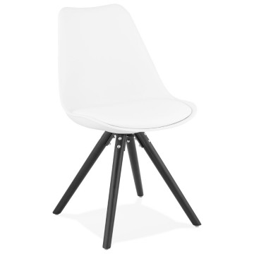 Design chair with WHITE soft and comfortable seat and BLACK legs SUEDEN