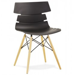 Scandinavian BLACK chair with beech legs STRATA