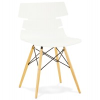 Beautiful white chair with Scandinavian design and beech legs