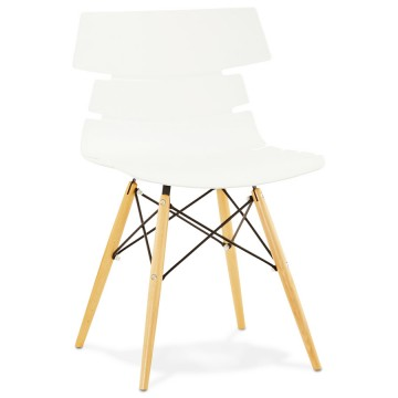 Scandinavian WHITE chair with beech legs STRATA