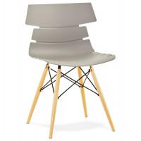 Beautiful grey chair with Scandinavian design and beech legs